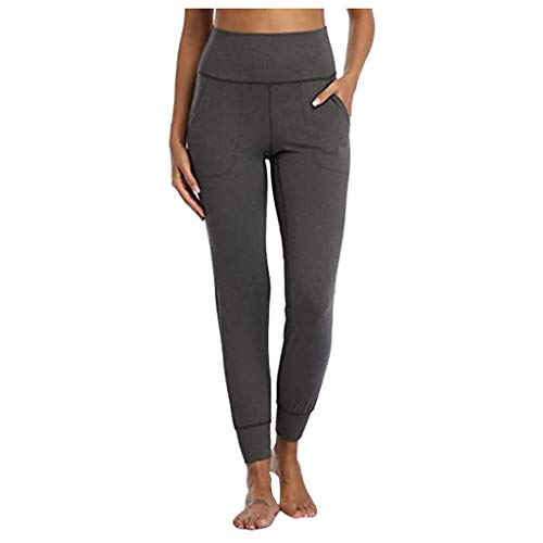 Aniywn Women's Solid Workout Leggings Fitness Sports Running Yoga Athletic Pants Comfort Joggers Pants for Workout Dark Gray