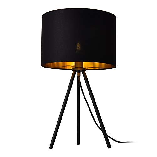 lux.pro Tischleuchte 'Metz' E14 Max. 40W Tripod Tischlampe Stoffschirm und Metallfüße Nachttischlampe Schwarz