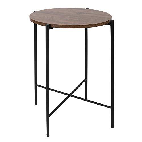Moncot ET116-WN - Mesa auxiliar redonda con estructura de metal negro, mesa de café con tablero vintage de madera de nogal para salón, dormitorio, oficina