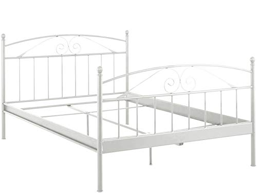 Loft24 A/S Metallbett Bett 180x200 cm Bettgestell Bettrahmen Metall (Creme weiß, 140 x 200 cm)
