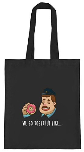 ShirtStreet Valentinstag natur Jutebeutel Stoffbeutel mit Donuts + Police Officer Motiv, Größe: onesize,schwarz natur