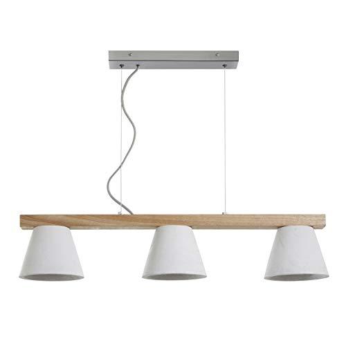 Hanglamp 3-spots beton EXO 683B-G04X1A-03 hanglamp IP20 voor binnenverlichting van staal eiken en Concrete 3 lampenkappen diameter 15 cm