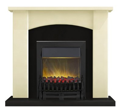 Adam Holden Fireplace Suite in Cream with Blenheim Electric Fire in Black, 39 Inch