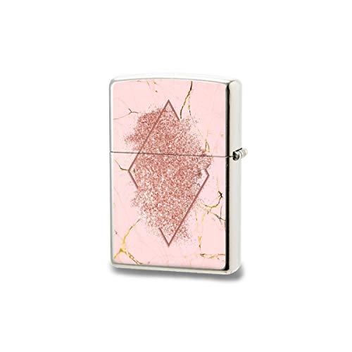 Encendedor unisex de bolsillo, resistente al viento, con purpurina dorada rosa con un rombo rojo marrón de larga duración, ideal para cigarrillos y velas