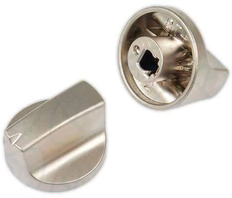 DOJA Industrial | Mando para Cocina y Encimera compatible con TEKA | PACK 2 | 6x32 mm | Eje 6 mm | Color Plateado | Mando para Horno, Placa Gas, Butano, Vitroceramica, Microondas, Estufa de Gas.