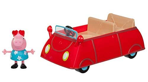 Jazwares 95706 - Peppa Wutz Peppa's kleines rotes Auto, Cabrio mit exklusiver Peppa Spielfigur, Spielzeugauto mit Sitzplätze für 3 Figuren, Original Peppa Pig Spielzeug Fahrzeug für Kinder ab 3 Jahren