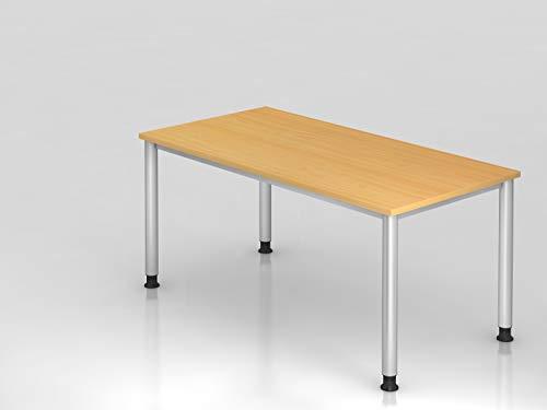 Schreibtisch 4Fuß rd 160x80cm Buche Silber Bürotisch EDV Tisch