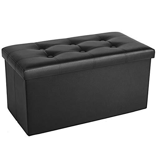 COSYLAND Sitzhocker mit Stauraum Faltbare Sitzbank Aufbewahrungsbox Leder Fusshocker Sitzwürfel mit Deckel Ottomane Fußhocker 76 x 38 x 38cm (Schwarz-Sitzbank)
