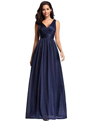 Ever-Pretty Vestiti da Sera Elegante Stile Impero Scollo a V Senza Maniche Plissettato Donna Blu Navy 36