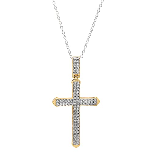 Dazzlingrock Collection 0,30 Carat (ctw) Croix de 10k Blanc Diamant Hommes Pendentif 1/3 CT (chaîne en Argent Inclus), Or Jaune