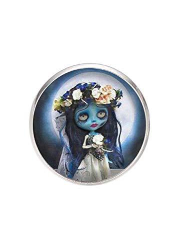 Edelstahl Brosche, Durchmesser 25mm, Stift 0,7mm, handgemachte Illustration Corpse Bride Doll
