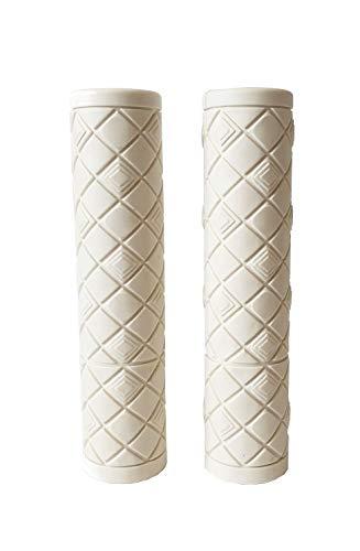 Karo Ergonomische Fahrradgriffe - 2er Set / PVC Lederähnliche Textur / Diamantmuster / Einfache Montage am Fahrradlenker / für Herren Damen Kinder, weiß, Both Long