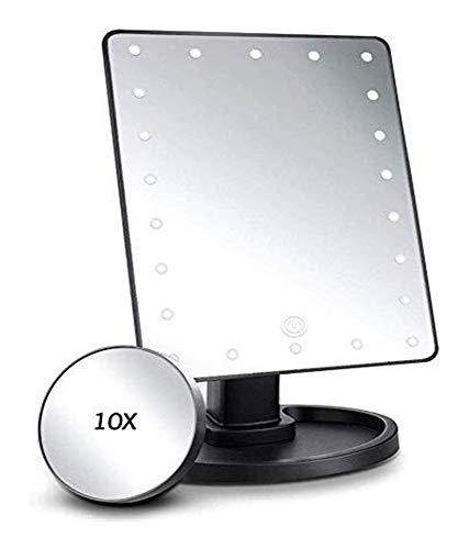 DHH 180 Drehkosmetikspiegel Rasierspiegel LED Touch Beleuchtung 10X Vergrößerungsspiegel (Size : A)