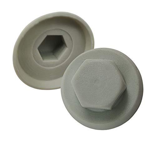 DOJA INDUSTRIAL | Tapones para Tornillos | Forma Hexagonal | Llave 8mm | PACK 100 | Material: Tapa Tuerca de Nylon | Color Blanco | Uso: Tapon Protector para Tuercas | Tapon Tornillo Hexagonal