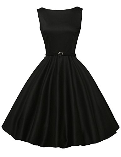 GRACE KARIN Black 1950's Dresses for Women Sleeveless Cotton XS F-13