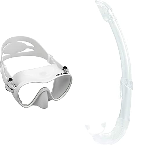 Cressi F1 Mask Máscara Monocristal Tecnología Frameless, Unisex, Blanco + Mexico Tubo De Snorkel, Unisex-Adult, Transparent