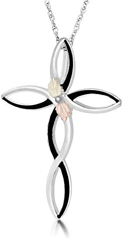 Infinity Cross Pendant Necklace Sterling Silver 12k Green and Rose Gold Black Hills Gold Motif product image