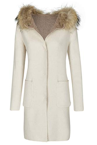 MILESTONE dames wollen jas omkeerbare jas Tosca beige taupe grote capuchon met bontkraag lange scheerwol mix