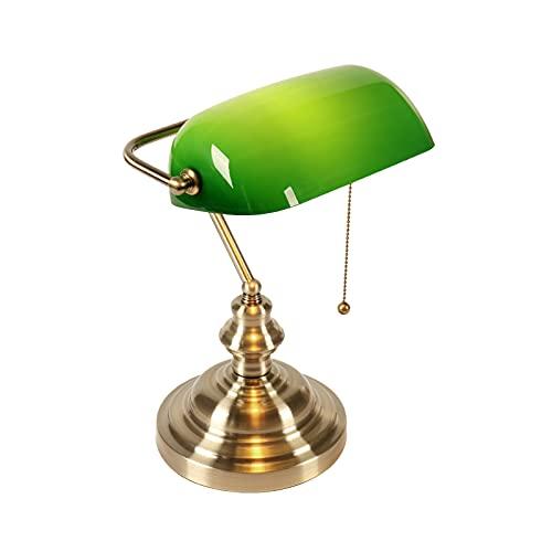 Sock Lámpara De Escritorio con Pantalla De Vidrio, Lámpara De Escritorio con Acabado De Latón Retro para Lectura De Estudio De La Oficina En Casa del Dormitorio