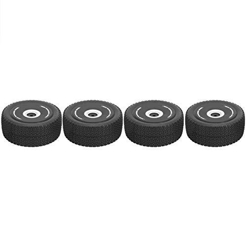 Aoutecen 4PCS RC Tire Bumpy Texture 1 12 Scale RC Wheels Black Antideslizante RC Tire Accesorio Reemplazo con Ruedas de plástico Neumáticos de Goma para RC Car Truck