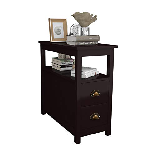 soges Nightstand Bedside Table Narrow End Table Sofa Side Table with 2 Drawers for Narrow Space, Living Room and Bedroom Brown,CYS-ST003-BR
