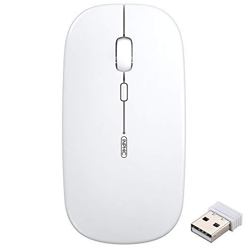INPHIC Mouse Wireless Ricaricabile, Mouse Ottico Mini Silenzioso con Clic Mute, 1600 Dpi Ultra Sottile per Notebook, PC, Laptop, Computer, MacBook(Bianco menta)