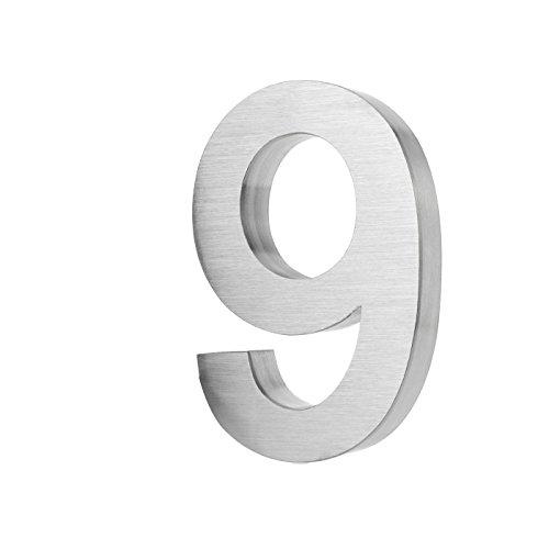 KOBERT GOODS Hochwertig Modern Gebürstet Edelstahl V2A Hausnummer 9 klassisch 3D-Effekt Design Wetterfest und Rostfrei inklusive Montage-Material Höhe 20cm Tiefe 3cm Groß für Haus und Gartenzaun