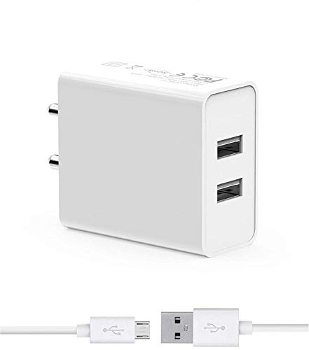 Fast Charger for HTC Windows Phone 8X CDMA Original Charger Dual USB Port Wall Charger | Mobile Fast Charger | Android Charger with 1 Meter Micro USB Charging Data Cable (2.4 Amp, DP, White)