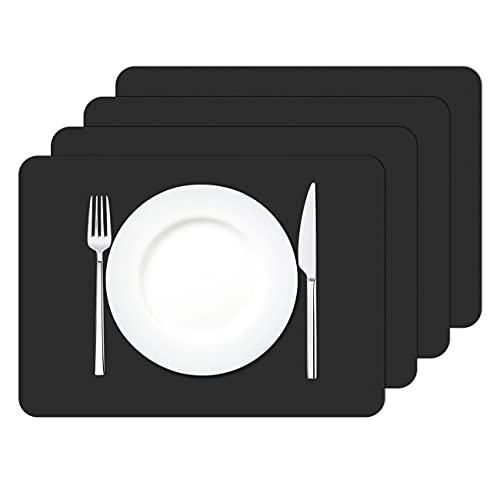 MORROLS Sets de Table en Cuir PU, Lot de 4 Sets de Table Lavable imperméables Rectangulaire PVC Set de Table Résistant à la Chaleur, 42 × 30cm (Noir)