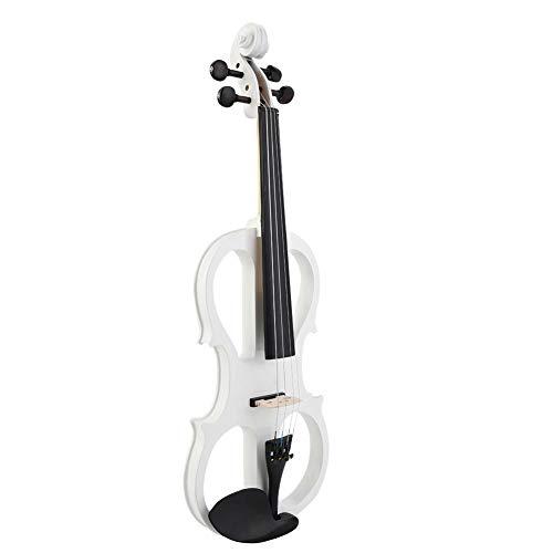 Violino elettrico 4/4, violino elettrico professionale dal suono brillante, per studenti principianti(white)
