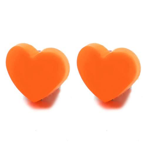 Naranja Acrílica Magnética Puff Corazón Pendientesde Mujer Niñas, Click-on Fake Piercing, Enchufe falso Plug, Precioso