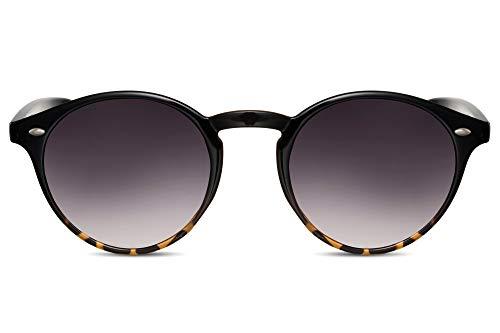 Cheapass Occhiali da Sole Unisex Rotondi Neri con Effetto di Demi con Lenti Gradienti Neri 100% UV400 Protetti