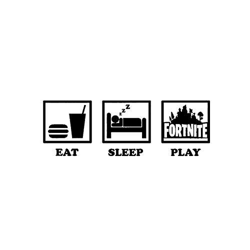 Behang Fort Night, Eat Sleep spel met decoratieve sticker voor muren Fortnite