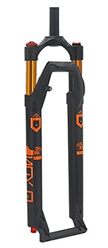 Forcella ammortizzata per bici MTB 27,5 29 pollici, lega di magnesio 1-1 8 Forcella anteriore per bici telecomandata con tubo dritto 120mm(Color:Orange;Size:29 inch)