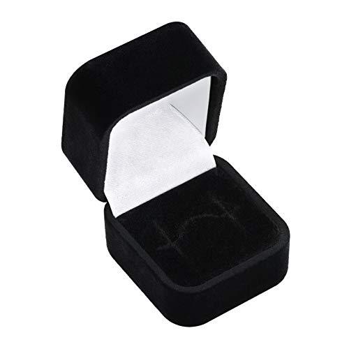 EYS JEWELRY Schmuck-Etui für Ring 45 x 50 x 35 mm Samt schwarz Ring-Box Schachtel Schatulle Geschenk-Verpackung