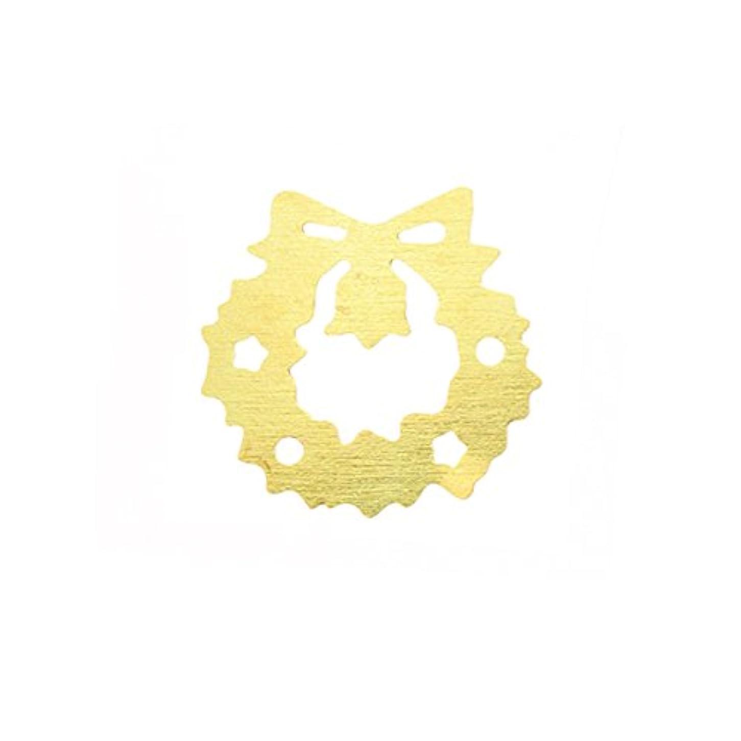 狼足首先例メタルプレート(ネイルストーン デコ) クリスマスリース ゴールド (30個入り)(ネイル用品)
