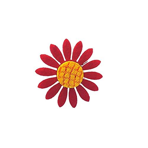 Banda para el pelo con flor de perro, Reino Unido, cachorro de mascota, niña, perro, bonito, muy pequeño, 4 cm (rojo)