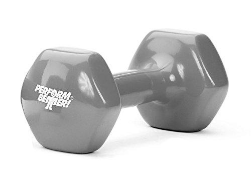 PERFORMBETTER+ Vinyl Kurzhantel, Rutschsichere Hantelgewichte in Einheitsgröße für Krafttraining & Muskelaufbau, Einzeln, Grau, 2kg