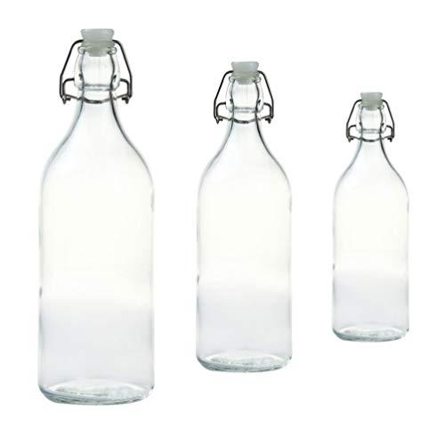 YARNOW 3 Paquetes de Botellas de Reserva Superior Botellas Dispensadoras de Cruet de Vidrio Herméticas Botellas de Cerveza Casera Herméticas para Cerveza Vino Aceite Vinagre Sidra Y