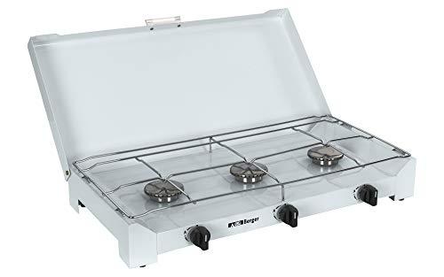 BERGER 3-Flammen Koffer-Gasgrill 50 mbar Silber/grau mit Anschlussschlauch Stahlblech Zündsicherung