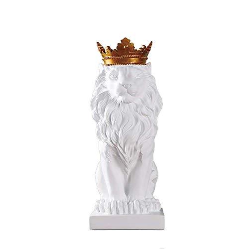 Decoración de Escritorio Estatua Decoración nórdica Creativo Animales afortunados de Adornos de la Sala de TV Vino Oficina del Gabinete Modelo de decoración de Interior Crafts (Color: Blanco)