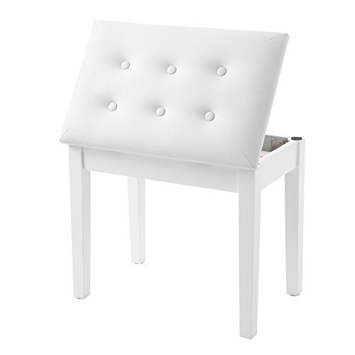 SONGMICS Piano Bench with Padded Cushion and Storage Compartment for Music Books, Vanity Stool, Tufted Wooden Seat, 21.6 x 13.7 x 19.3 Inches, White ULPB55WT