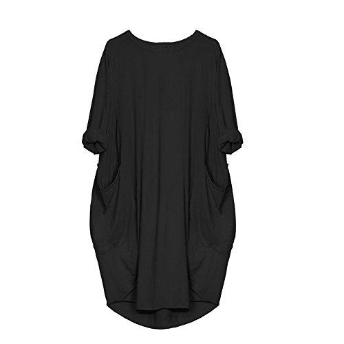 VEMOW Damenmode Tasche Lose Kleid Damen Rundhalsausschnitt beiläufige Tägliche Lange Tops Kleid Plus Größe (42 DE/S CN, Schwarz)