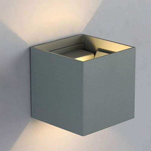 Patabit - Aplique de pared con forma de cubo LED para interior o exterior | lampara pared luces LED de pared interiores o exteriores | apliques pared dormitorio de metal (gris, 6W luz cálida 3000 K)