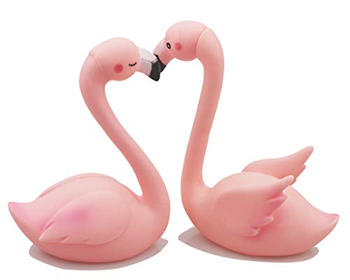 1 Pair Flamingo Cake Topper,Party Decoration for Birthday Wedding Anniversary Luau Bench Party (Flamingo)