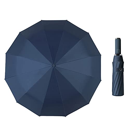 Paraguas plegable para golf, paraguas plegable automático, paraguas compacto para viajes o golf, con ventilación y resistente al agua, marine, Talla única