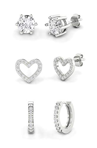 925 Sterling Solid Silver Stud or Hoop Earrings for Women & Girls | Sparkling AAA Cubic Zirconia Style Crystal Gem Ear Ring | Ideal Earring Gift (Set of 3 - Heart, Stud, & Hoop)