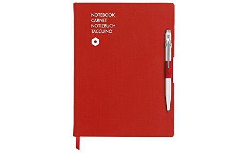 Caran D\'Ache Esferográfica 849 Branco e Caderno Pautado Vermelho A5