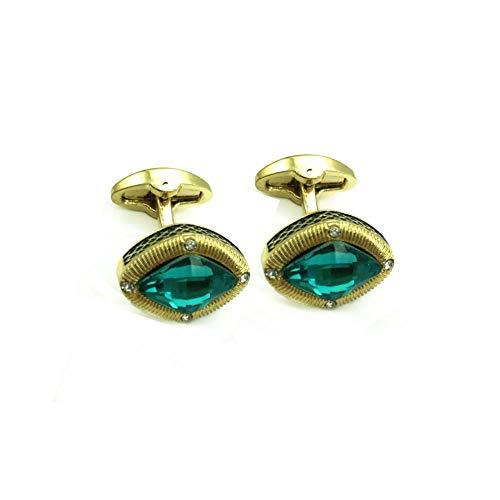 Shah Cufflinks Gemelos de Negocios de Cristal con Piedras Preciosas Doradas para Hombres D