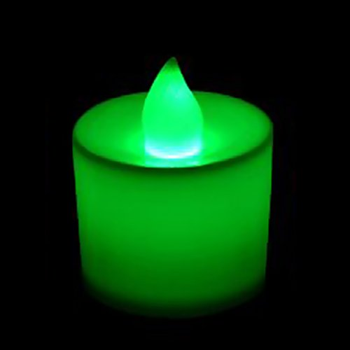 Brussels08 1Pc Flameless Flickering LED Tea Light Candles Battery Operated Tealight Electric Flameless Candles Night Light Candle for Party, Wedding, Birthday, Gifts and Home Decoration Green